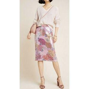 Anthropologie Sequin Paillette Pencil  Skirt